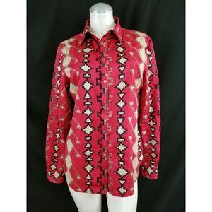 Ralph Lauren Size L Navajo Button Down Shirt Top